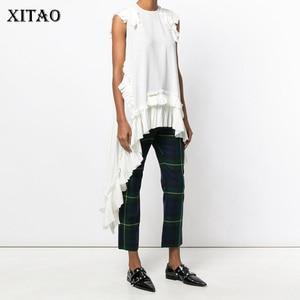 Image 1 - Xitaoノースリーブ不規則な白tシャツセクシーな女性の衣服oネックパッチワークフリル裾女の子ヒッピーシックなtシャツ新LJT3008