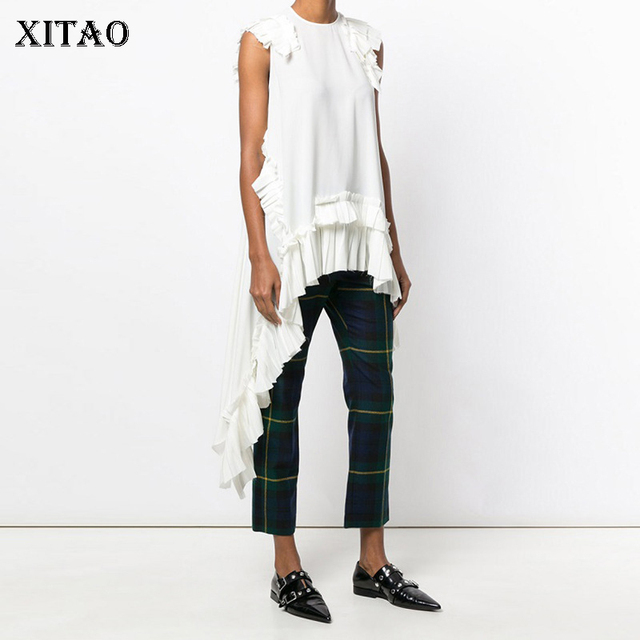 Xitaoノースリーブ不規則な白tシャツセクシーな女性の衣服oネックパッチワークフリル裾女の子ヒッピーシックなtシャツ新LJT3008