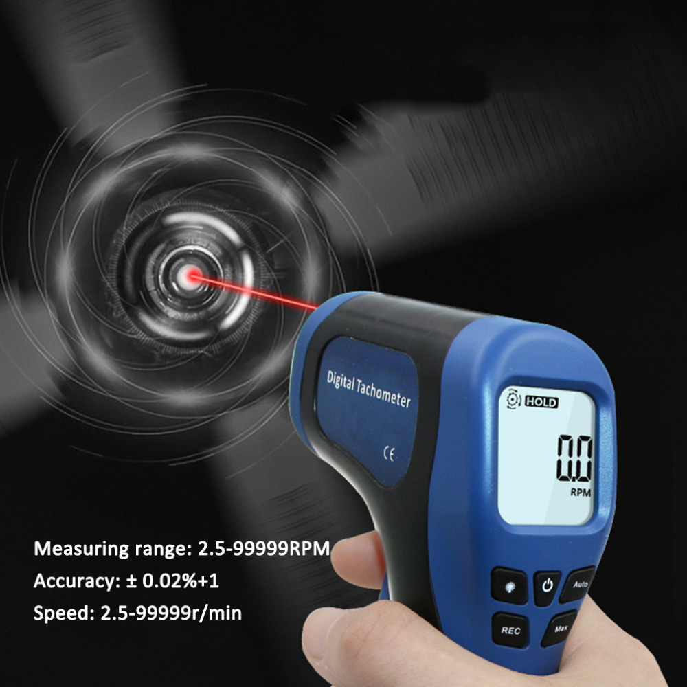все цены на Professional Car Exclusive Non-Contact RPM Meter Motor Speed Gauge Gun Style Surface Speed Tach Meter Speedometer онлайн