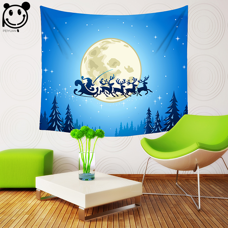 PEIYUAN Tapestry New Design Christmas Wall Hanging Cloth Print Santa Claus sleigh Elk Mo ...