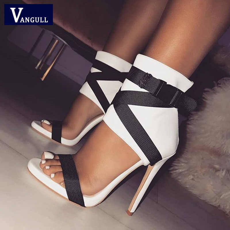 VANGULL Ankle Lace Up Sandals Sexy Women High Heels Shoes Open Toe Zip Strap  2019 New 107064ca84c6