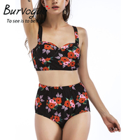 Burvogue High Waist Bikinis Women Push Up Swimwear Sexy Swimsuit Monokini Summer Swimwear New Female Printed