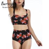 Burvogue High Waist Bikinis Women Push Up Swimwear Sexy Swimsuit Monokini Summer Swimwear New Female Printed