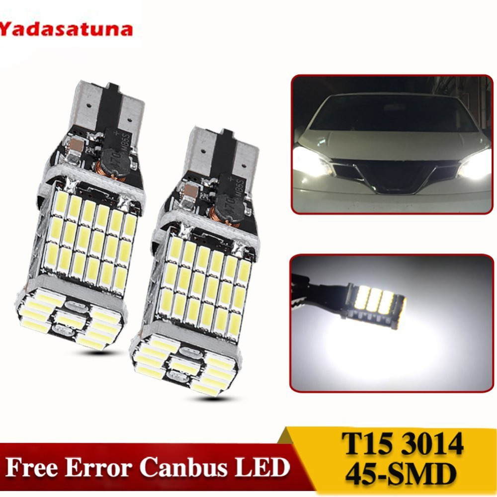2Pcs No Polarity Car Led Bulb 921 912 W16W Led Backup Reverse Lights T15 45SMD Chipest Led Canbus Error Free Bulbs White 2pcs high quality superb error free 5050 smd 360 degrees led backup reverse light bulbs t20 for hyundai i30