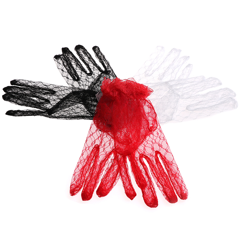 1Pair New Sexy Lace Short Bridal Full Gloves Evening Party Pageant Gloves Women Party Lace Gloves Black Red White