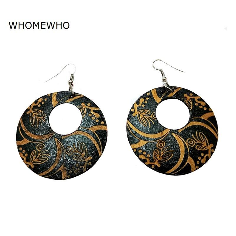 Black Wood Round Africa Handmade Engraved Flower DIY Tribal Earring Wooden Vintage Ethnic Accessories Ear African Boho Jewelry