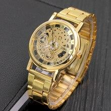 Новая мода кварцевые часы Скелет Для мужчин Для женщин Марка часы из нержавеющей стали Прозрачные полые часы имитация механические часы