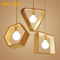 Star wish skandynawskie geometryczne drewniane oprawka do lampy wiszącej design z litego drewna kuchnia jadalnia kreatywne oświetlenie wiszące w Wiszące lampki od Lampy i oświetlenie na