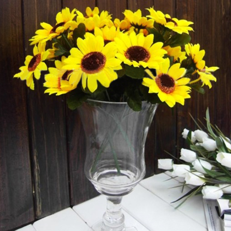 7 Heads Large Artificial Fake Sunflower Bouquet Yellow Silk Tournesol Flowers For Party Home Beauty Decoration