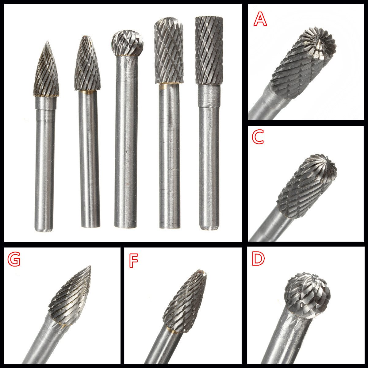 1PC Type A/C/D/F/G 6*8MM Head Tungsten Carbide Rotary Tool Point Burr Die Grinder Abrasive Tools Drill Milling Carving Bit Tools
