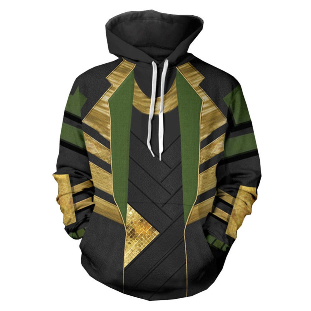 Thor: The Dark World Avengers LOKI Cosplay Costume Coat Pullover Men's Hoodie Sweatshirt
