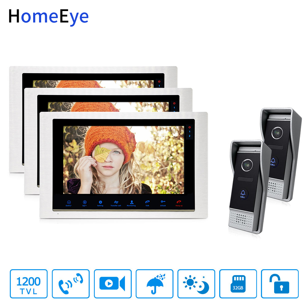 HomeEye Video Door Phone Video Intercom Motion Detection Touch Button 10'' Monitor 1200TVL IR Camera 2-3 Security Access System