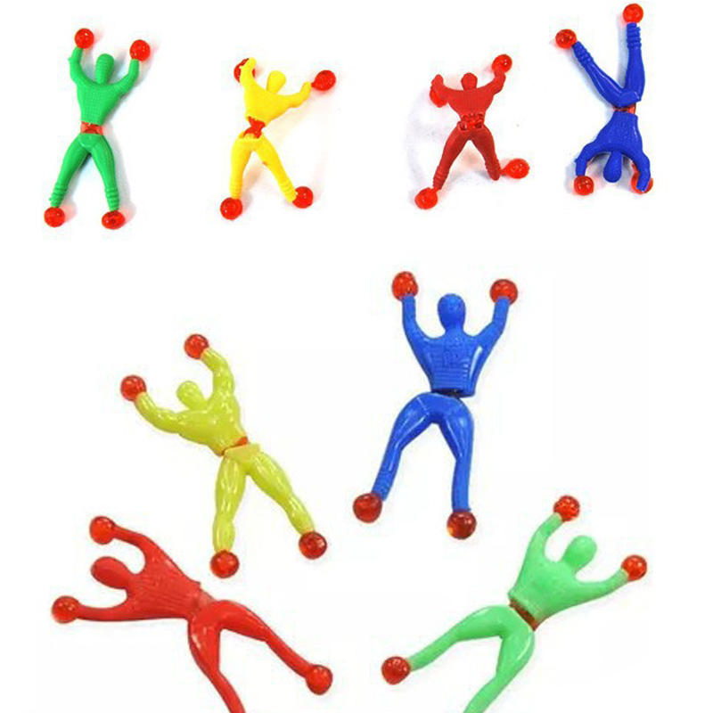 12 Pcs Climbing Kids Climber Men Sticky Wall Pinata Fillers Children's Toy Climbing Wall Spiderman Birthday Gift  Party Supplies