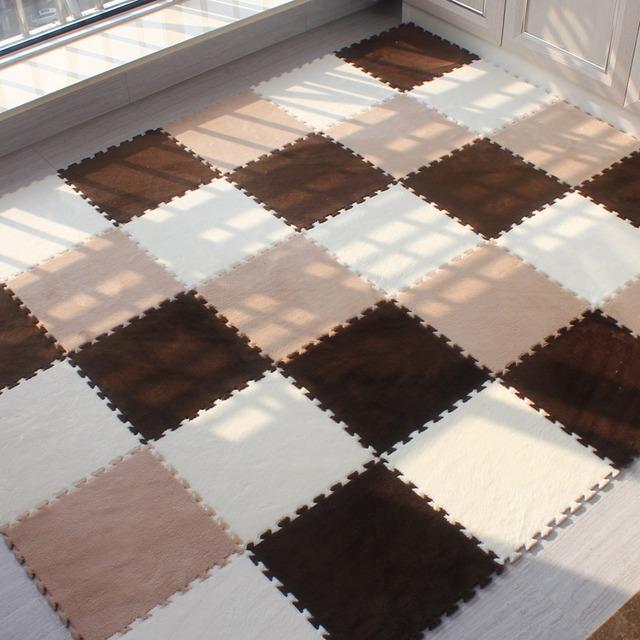 30 cm/peça 9 pçs/set Esteira do Enigma Da Espuma de EVA porta shaggy Tapete de veludo mat Puzzle Mat Área Tapete de pelúcia Tapete tecido Sala Pavimento esteiras