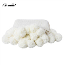 iDouillet White Cotton Pompoms Stripe Cable Knit Blanket Throw Bed Sofa Couch for Baby 90x90cm Adult 150x200cm Couverture de Lit все цены