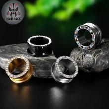 цена KUBOOZ Fashion Ear Gauges Tunnels Plugs stainless Steel Stretcher Screw Piercing Body Jewelry Expander Earrings Gift онлайн в 2017 году