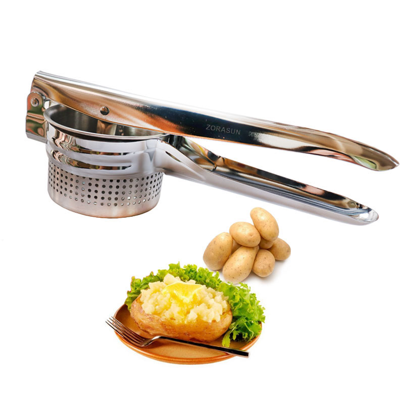 ZORASUN Stainless Steel Potato Masher Ricer Puree Fruit Vegetable Juicer Press Maker Garlic Press Multifunction Kitchen Tools
