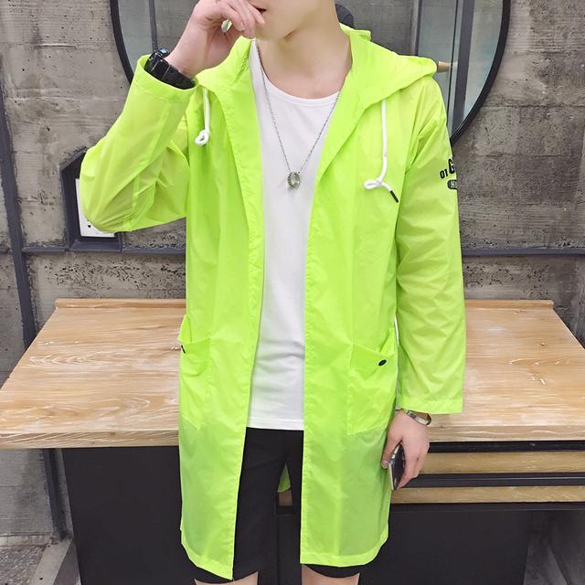 2016 amantes del verano caliente con capucha larga sección de piel chaqueta de la capa ropa de protección solar de manga larga chaqueta rompevientos 5 colores