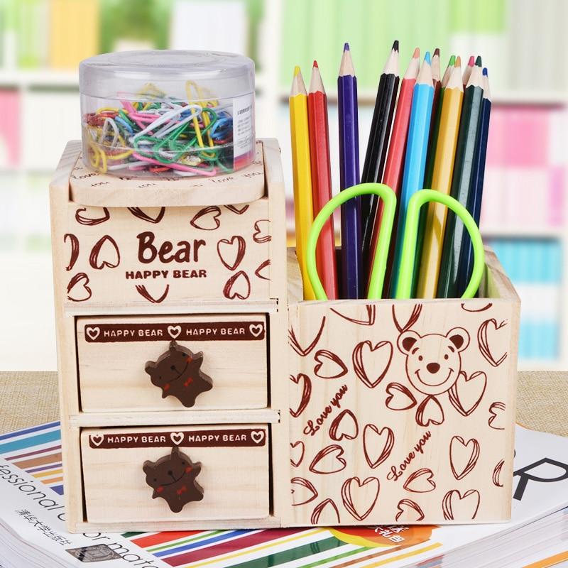 Wooden multifunctional penholder  Teddy cartoon pen container  stationery box desk top storage box School Stationery  цены