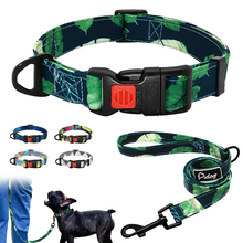 Printed Dog Collar and Leash Set Safety Dogs Collars Nylon Pet Puppy Walking For Small Medium Pitbull