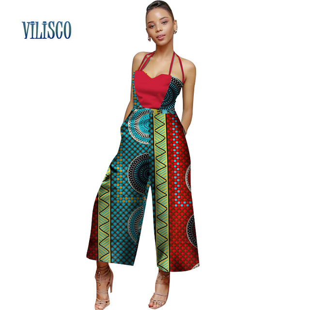 6fb6e111caad Bazin Riche African Print Jumpsuit for Women Patchwork Strap Collar Jumpsuit  Plus Size Traditional African Women Clothing WY2684
