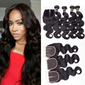 8A Brazilian Virgin Hair Body Wave 4Bundles With Closure Brazilian BodyWave With Closure Brazilian Virgin Hair With Lace Closure