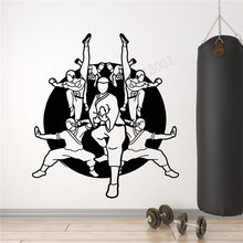 Wall Art Sticker Chinese Kongfu School Decoration Vinyl Removeable Mural Karate School Fighters Martial Ornament Beauty LY419(China)