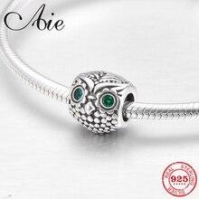 050e0e02e Fashion Owl 925 Sterling Silver charming green eyes CZ fine Bead Fit  Original Pandora Charm Bracelet