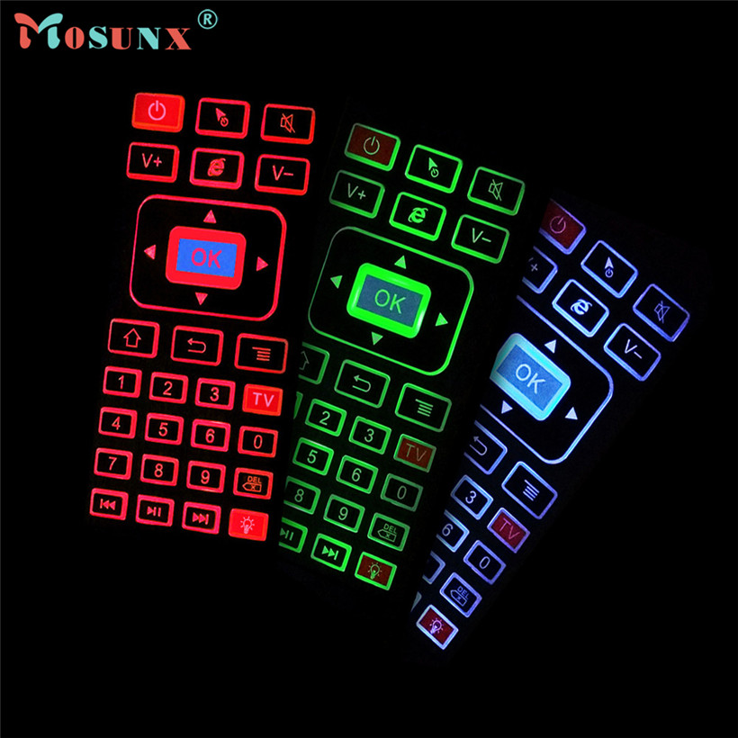 Mosunx 2017 Wireless mouse New Tri-colour RGB 2.4GHz Wireless Keyboard Remote Qwerty Fly Air Mouse for Smart TV XBMC 1PC