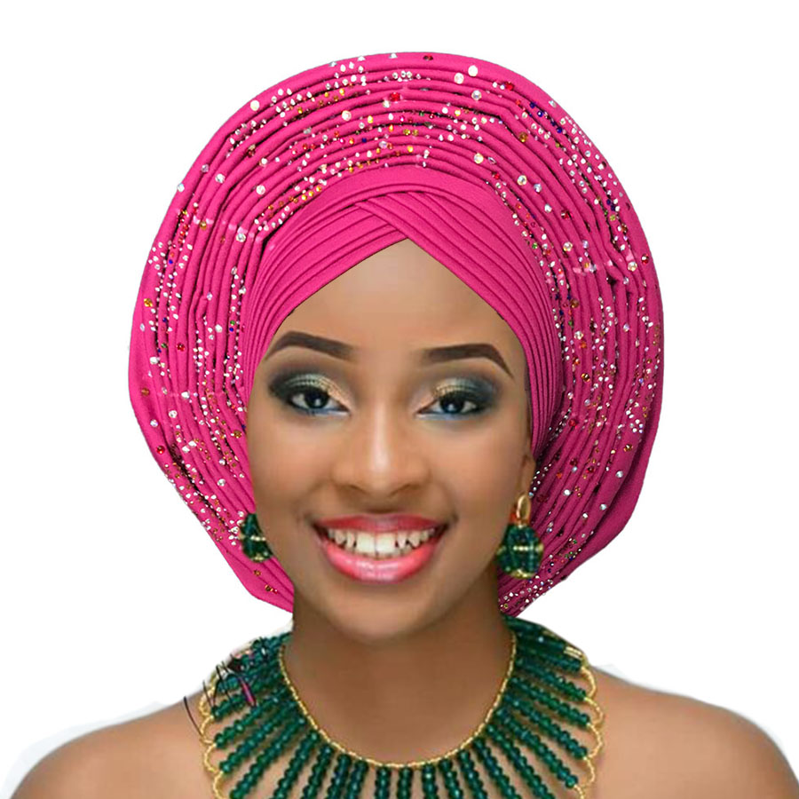 Nigerian Gele Headtie With Stone Pearl Already Made Auto Hele Turban Cap African Aso Ebi Gele Aso Oke Headtie Big Brim 2018