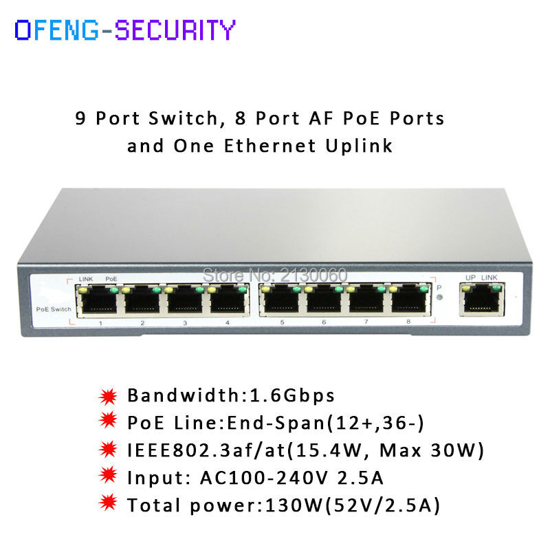 POE Switch 9-PORT 10/100M SWITCH WITH 8-PORT POE, IEEE 802.3af/at, PoE Power Output: 15.4Watts,PoE Budget:130Watts 4 port poe switch 10 100m power over ethernet switches with ieee 802 3af standard