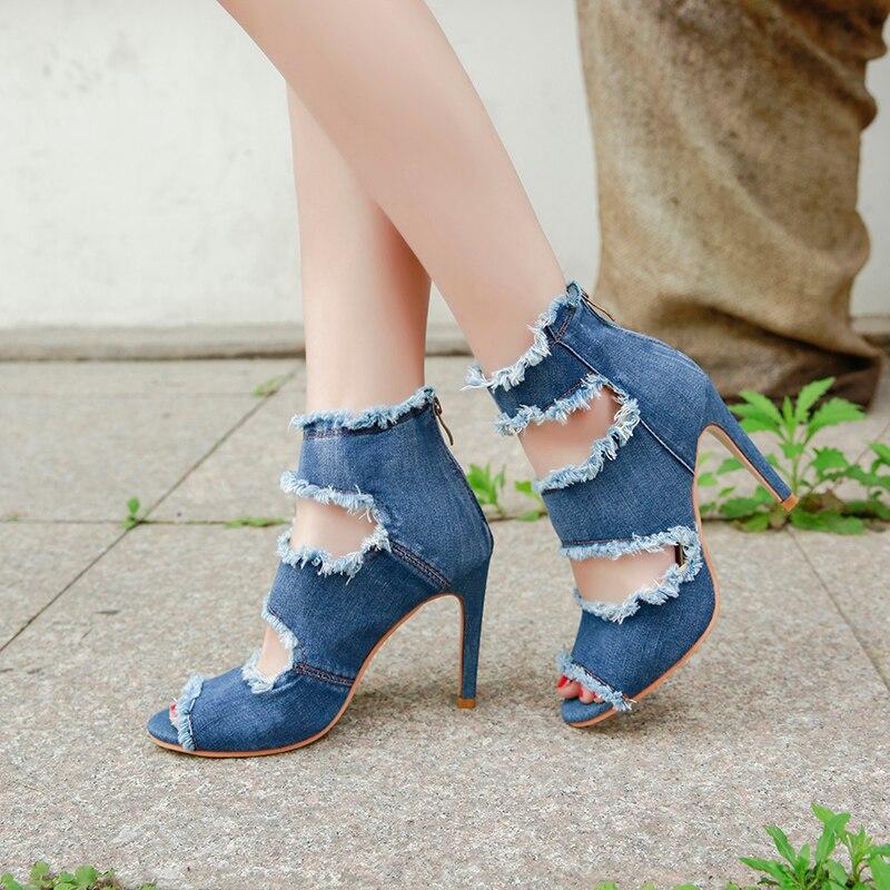 ddcbca7194 Lucyever Verano de 2019 bombas moda Peep Toe Sandalias de tacón alto Denim  Casual borla zapatos de gladiador botas de tobillo
