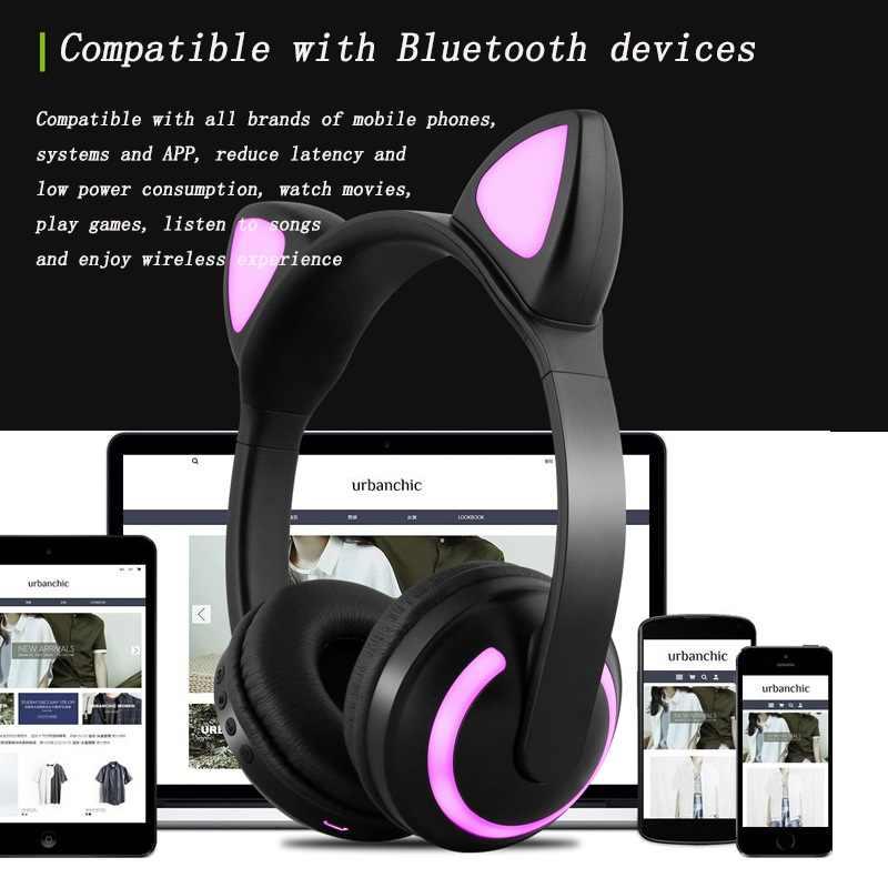 Bluetooth イヤホンヘッドセットステレオワイヤレスヘッドフォン Bluetooth ヘッドセット猫マイク携帯電話の Pc の音楽ゲーム