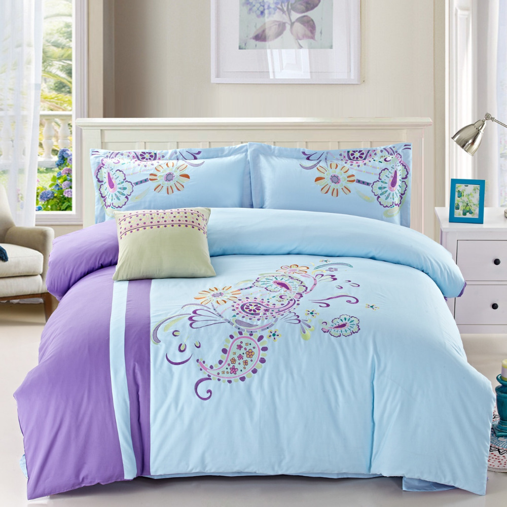 Blue patchwork and embroidered bedding set queen king size for Bedding fabric bedding