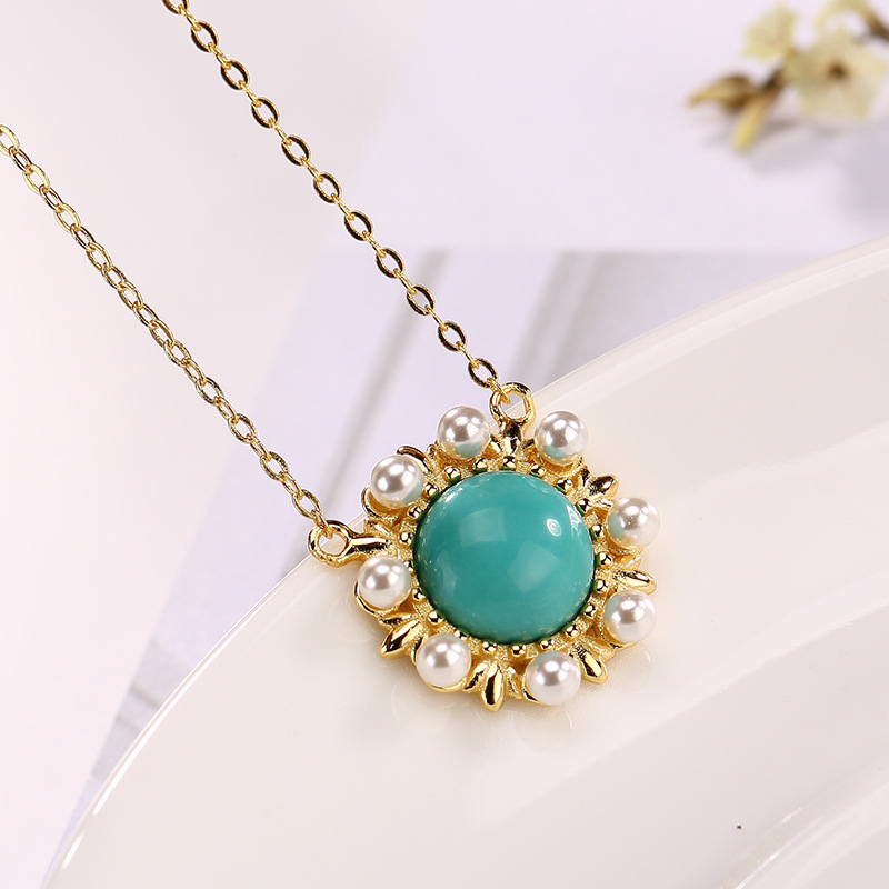 2018 New silver S925 Sterling Silver gilded natural turquoise Pearl Pendant2018 New silver S925 Sterling Silver gilded natural turquoise Pearl Pendant