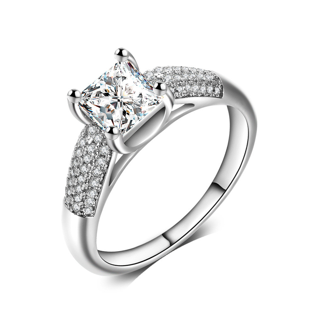 2017 Fashion Jewelry Elegant Ring For Women Engagement Wedding Female  Silver White Zircon Rings Jewelry Luxury