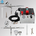 OPHIR 0.3mm 0.5mm Dual Action Airbrush Kit with Compressor Air-brush Gun for Model Paint Cake Decorating Nail Art_AC091+004A+006