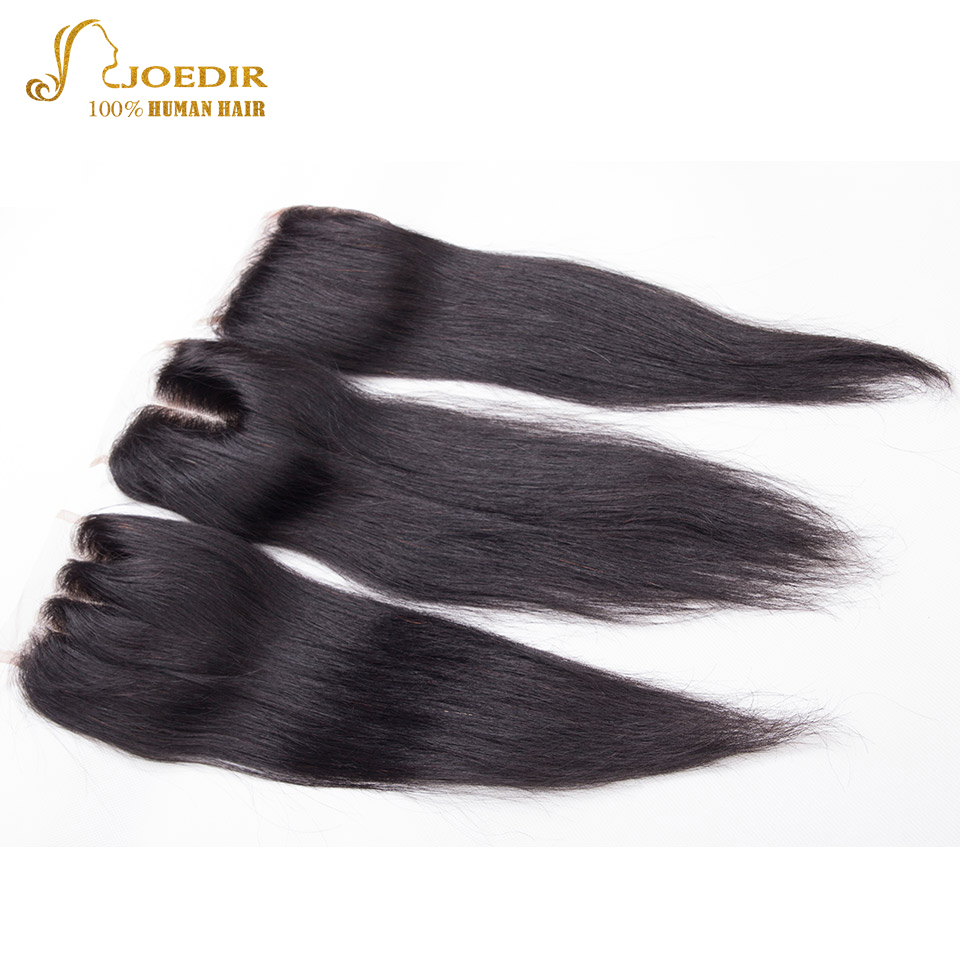 Joedir Hair Peruvian Straight 4 * 4 Lace Closure Middle Free Part - Skönhet och hälsa - Foto 5