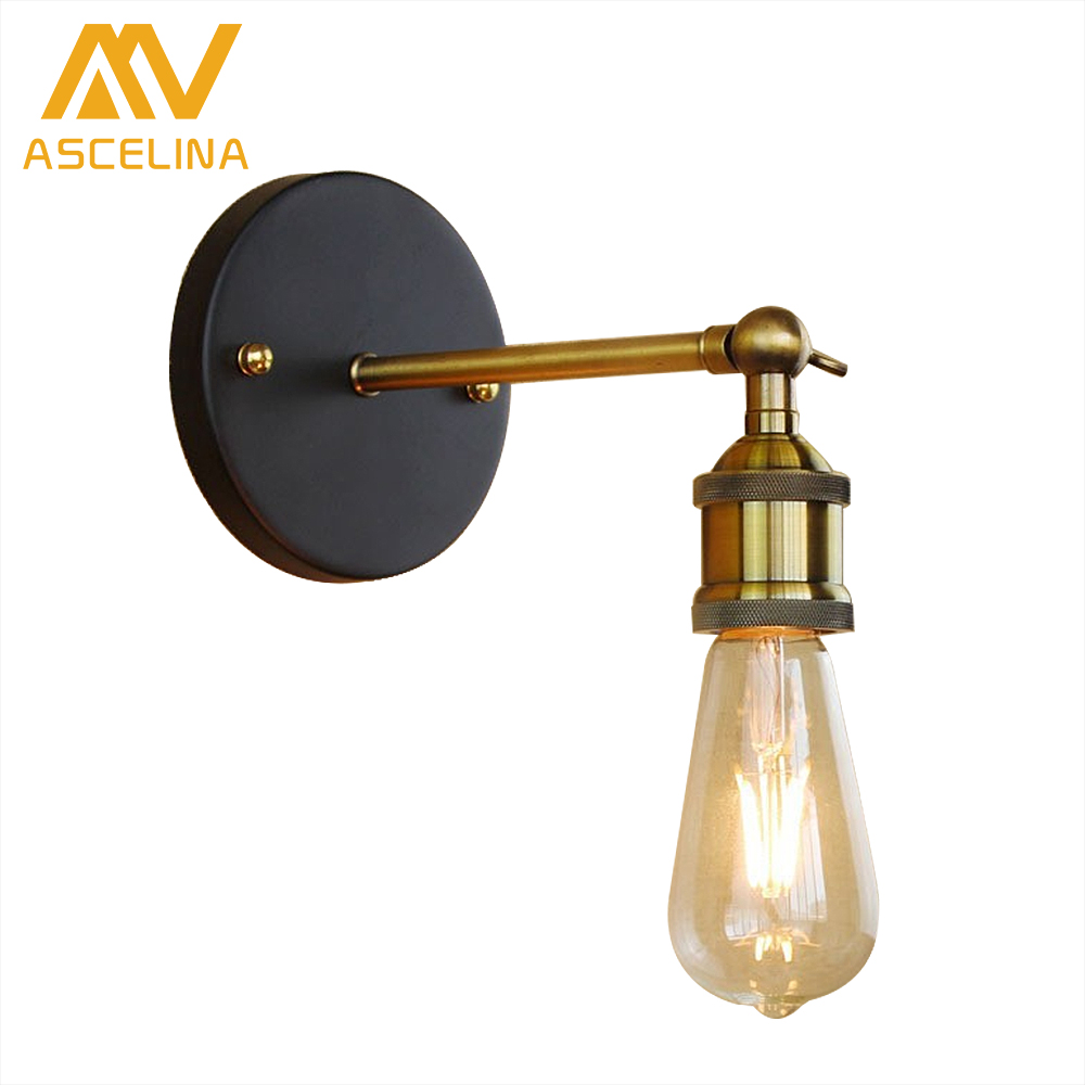 ASCELINA loft style wall lamp industrial vintage led Wall sconce light fixture brass WALL Lights for home lighting E27 85-260V