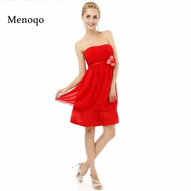 8th Grade Prom dresses Red Chiffon Strapless A line Knee length ...