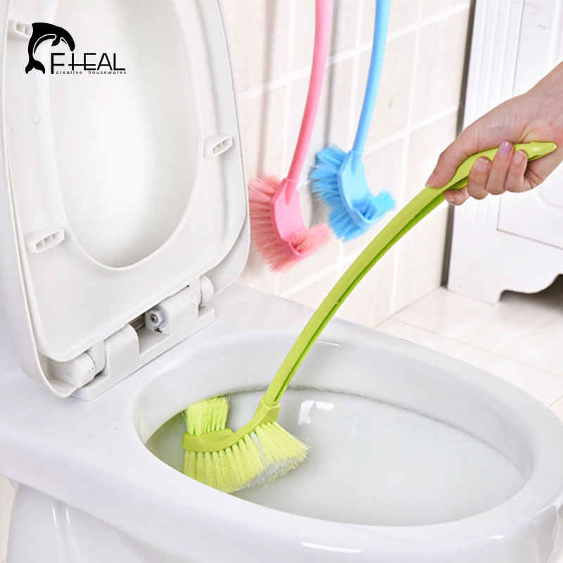 Fheal toilet cleaning long handle brush no dead end double for Bathroom cleaning supplies list