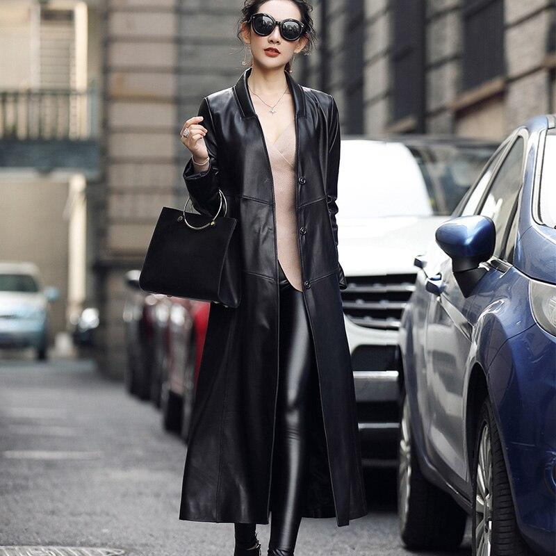 Longue Manteaux Dames Femmes Printemps Noir Naturel 2019 Manteau Mouton Vestes Peau Femelle Automne De Veste Tranchée Véritable Z1142 Cuir En ZqH6IXrq