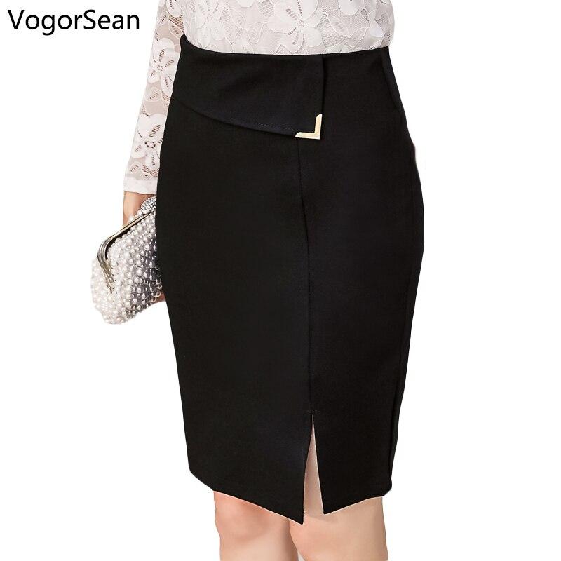 VogorSean Womens Slim Sexy Formal Office Lady Skirt Faldas Elastic High Waist Black Step Pencil Saias OL Skirts For Women Work