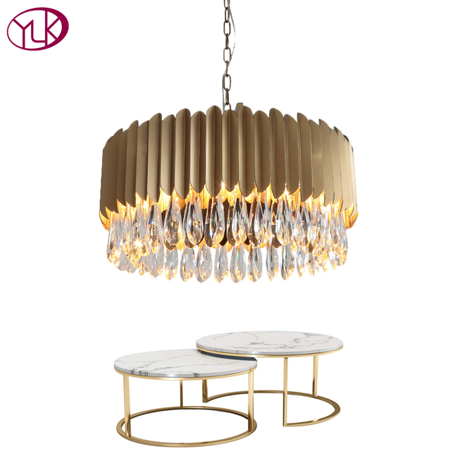 Youlaike New Modern Crystal Chandelier For Living Room Luxury Home Decoration Hanging Light Fixtures Round Gold Home Lamps