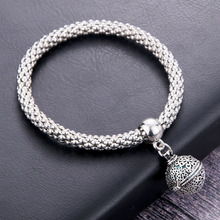 Flower ball Aromatherapy Pendant Bracelet Essential Oil Diffusing Bangle Silver Charm Popcorn Chain Jewelry Locket