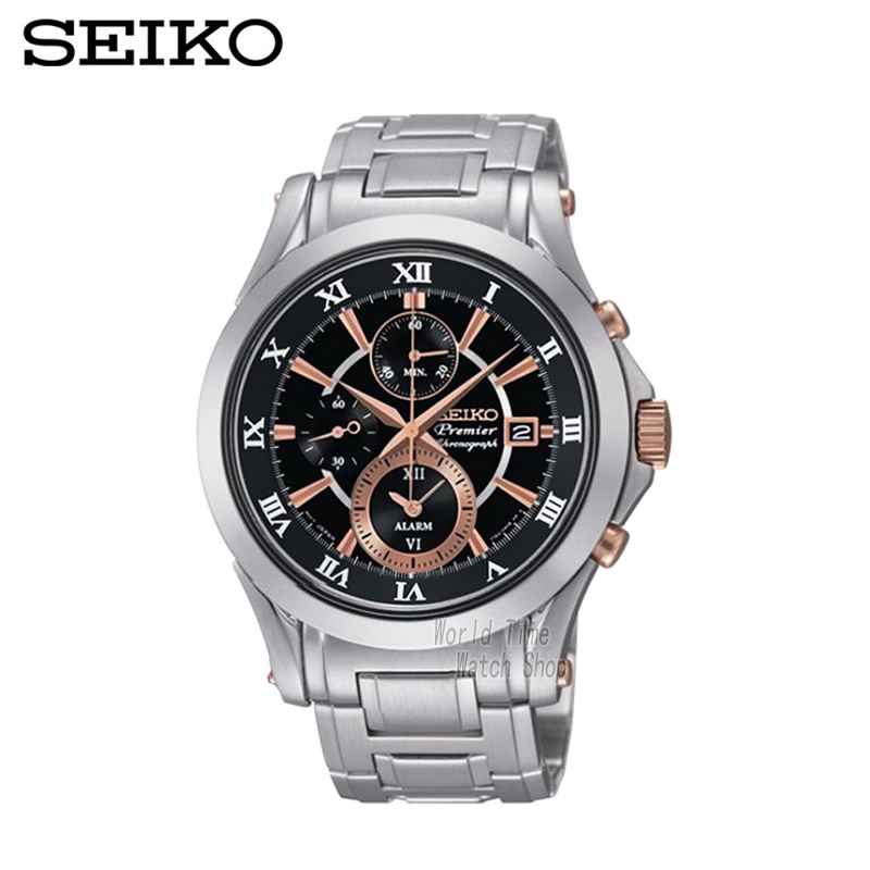 SEIKO Watch Premier Chronograph Chronograph Calendar Waterproof quartz men's watches SNAF20P1 seiko premier snq144j1