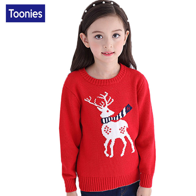 Children Boys Girls Christmas Sweater Pullover Knit Autumn Winter Cute Elk 2016 Fashion All-match Bottoming Outwear Red Blue Top