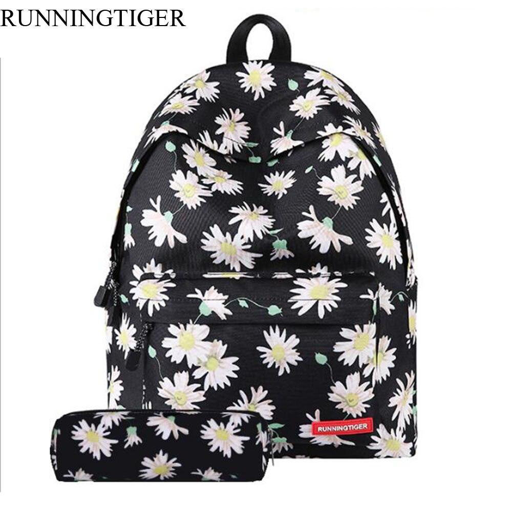 Runningtiger جديد وصول النساء حقائب الطلاب المدرسية حقيبة السفر أكياس البوليستر اليد مركب حقيبة السيدات عارضة bolsas