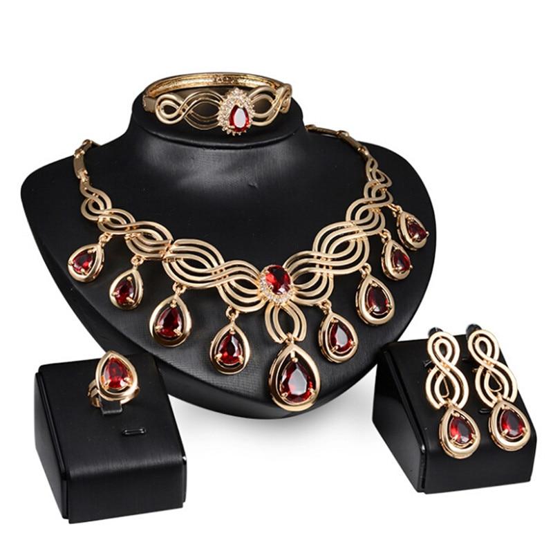 1 Satz Mode Hochzeit Braut Schmuck Sets Grün Rot Kristall Antike Bronze Farbe Schmuck Set Halskette Ohrringe Armband Ringe äSthetisches Aussehen