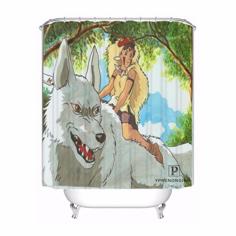 Custom Princess Mononoke Waterproof Shower Curtain Home Bath Bathroom s Hooks Polyester Fabric Multi Sizes#180421-Sina-07